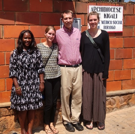 "2018 Summer CGEI project, ""First assessment of injection drug use practices and associated HIV risks in Kigali, Rwanda"" led by Ciheb faculty Dr. David Riedel with students (left to right) Winnie Asimwe (School of Pharmacy), Kayli Workman (School of Medicine), and Julie Factor (School of Nursing)."